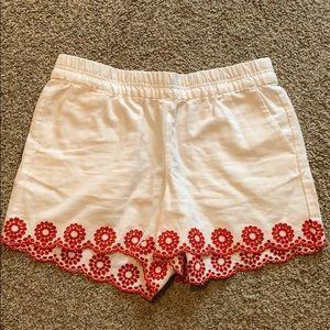 J Crew White Linen Shorts